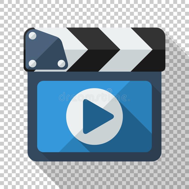 Icône de bardeau avec le bouton de jeu dans le style plat sur le fond transparent illustration stock