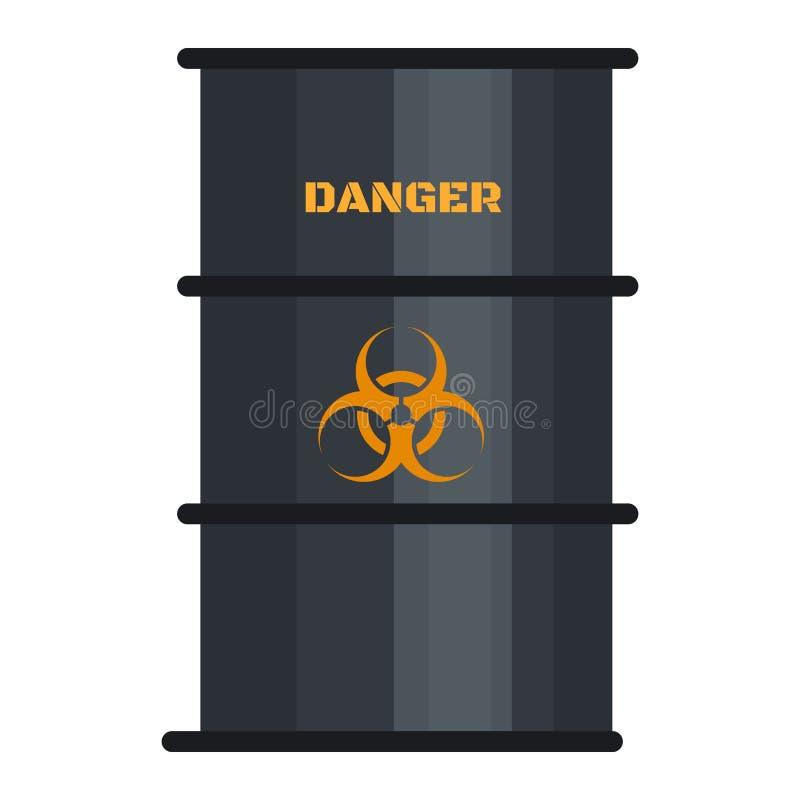 Icône de baril de noir de Biohazard, style plat illustration de vecteur
