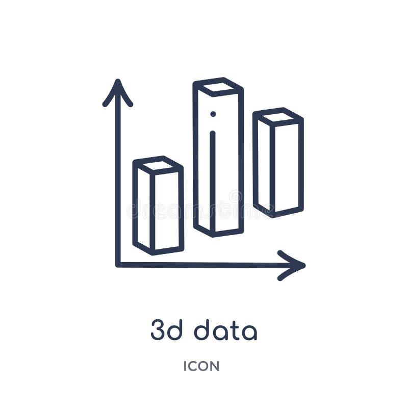 icône de barres d'analytics des données 3d double de collection d'ensemble d'interface utilisateurs La ligne mince icône de barre illustration stock