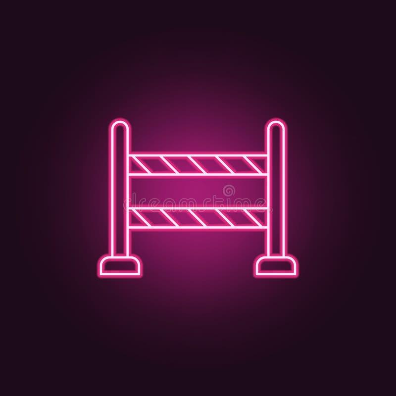 icône de barrière de route Éléments d'enquête de crime dans les icônes au néon de style E illustration de vecteur