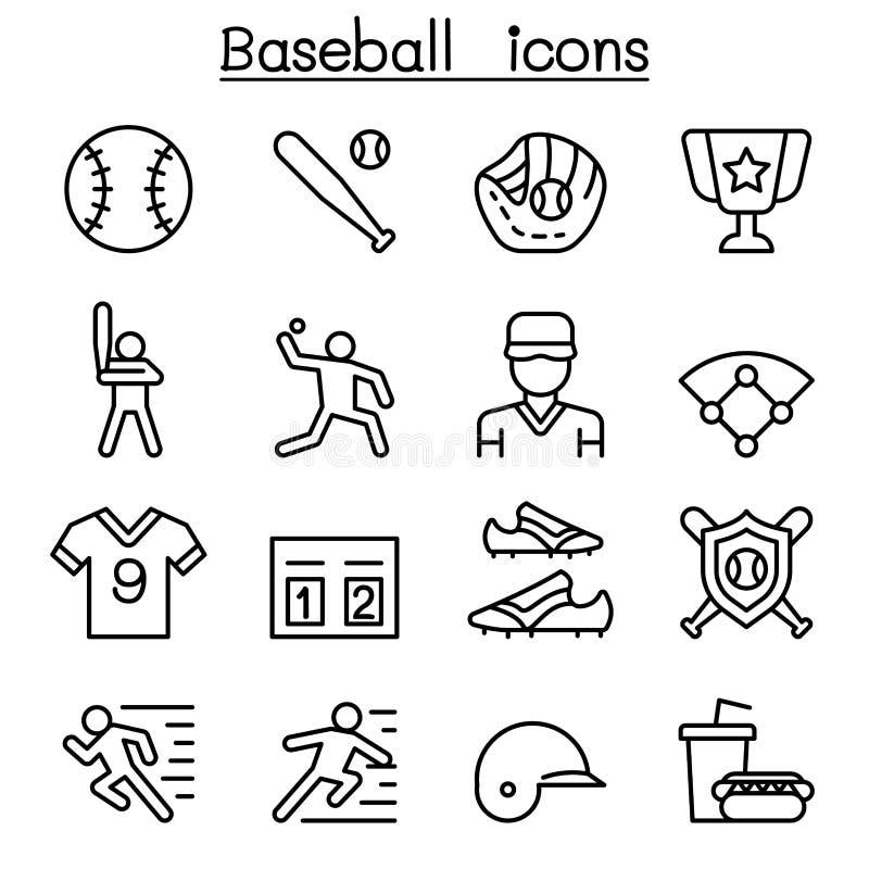 Icône de base-ball et de base-ball réglée dans la ligne style mince illustration stock