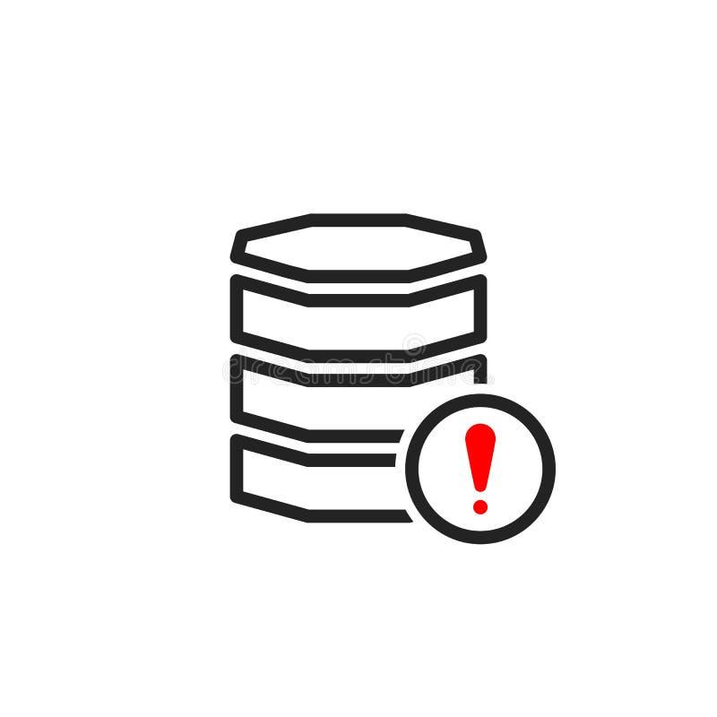 Icône de base de données avec la marque d'exclamation Icône de base de données et alerte, erreur, alarme, symbole de danger illustration libre de droits