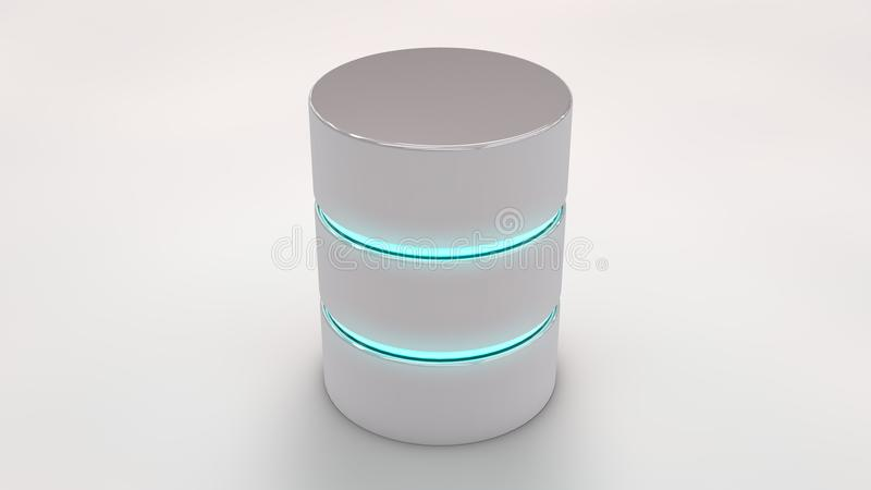 Icône de base de données avec les rayures bleues rougeoyant, sur le blanc illustration de vecteur