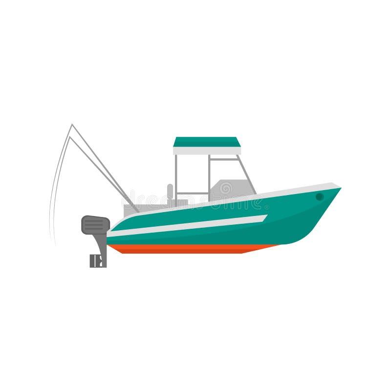 Icône de bateau de pêche de bande dessinée sur un blanc Vecteur illustration libre de droits