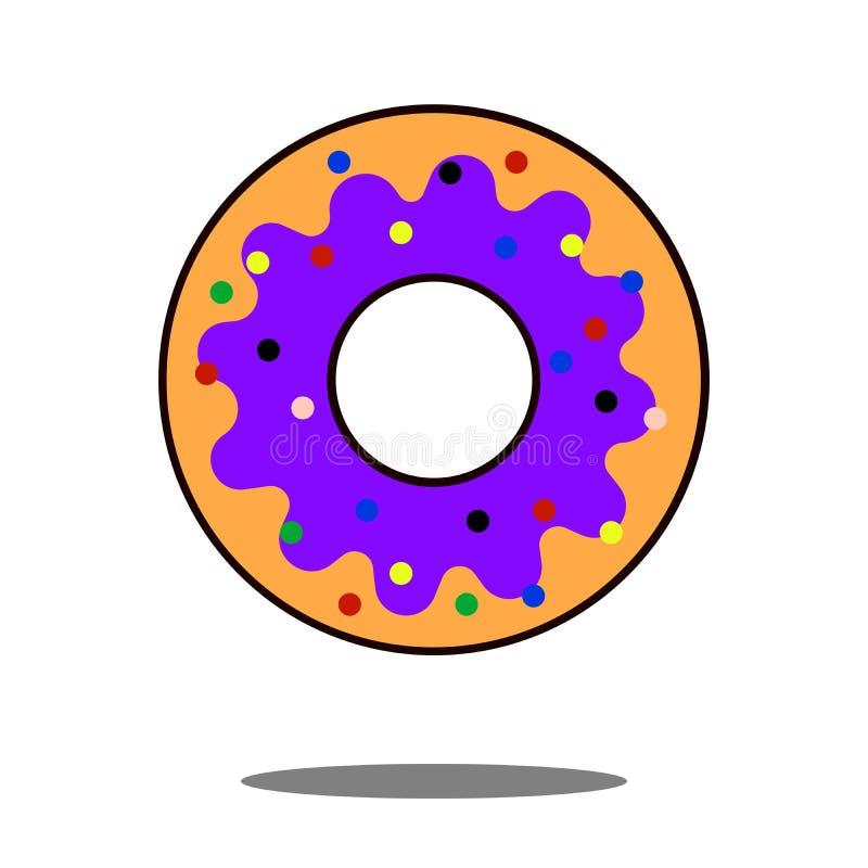 Icône de beignet plate Le symbole d'isolement sur le sujet de boutique avec l'icône de beignet, le beignet et la signification de illustration de vecteur