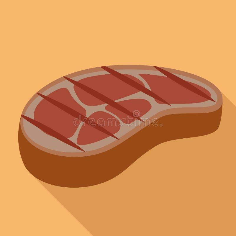 Icône de bifteck de BBQ, style plat illustration libre de droits