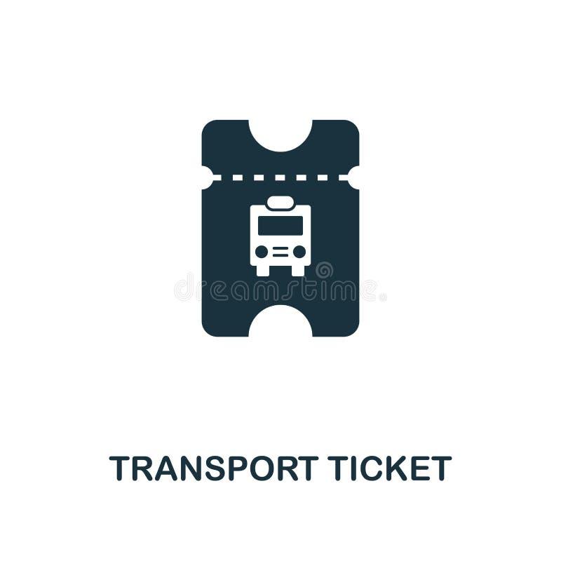 Icône de billet de transport Conception monochrome de style de collection d'icône d'éléments de ville Ui Ti simple parfait de tra illustration stock