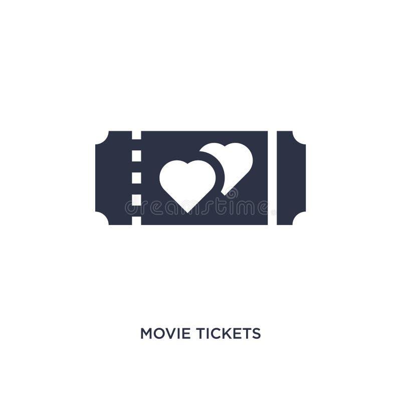 icône de billets de film sur le fond blanc Illustration simple d'élément de l'amour et du concept de épouser illustration de vecteur