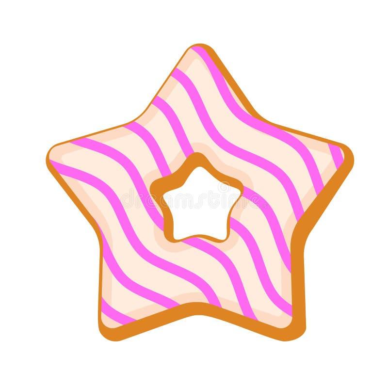 Icône de biscuit d'étoile, style plat illustration de vecteur