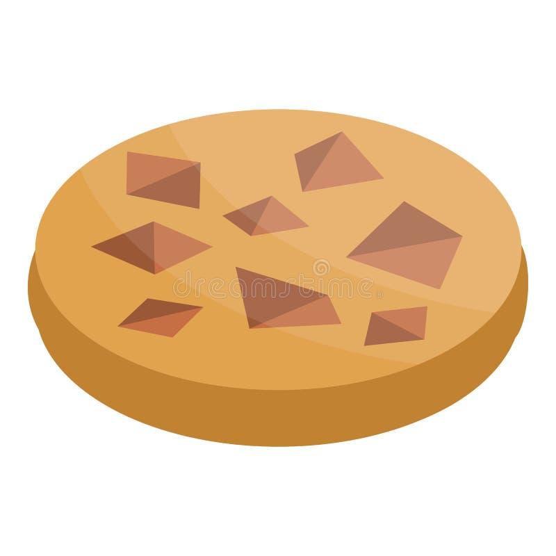 Icône de biscuit de morceau de chocolat, style isométrique illustration libre de droits
