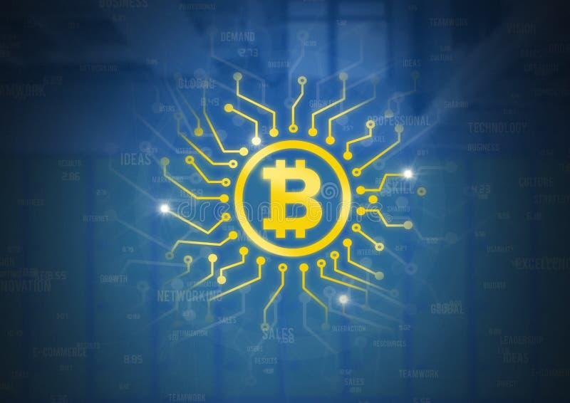 Icône de Bitcoin avec des graphiques d'énergie de circuit illustration de vecteur