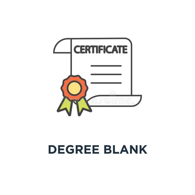 icône de blanc de degré document, diplôme, récompense ou accomplissement de certificat avec le timbre, contour sur blanc, concept illustration libre de droits