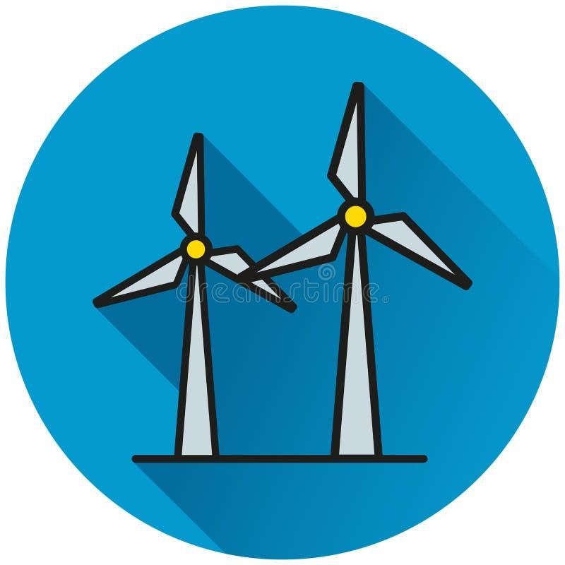 Icône de bleu de cercle de turbine de vent illustration de vecteur