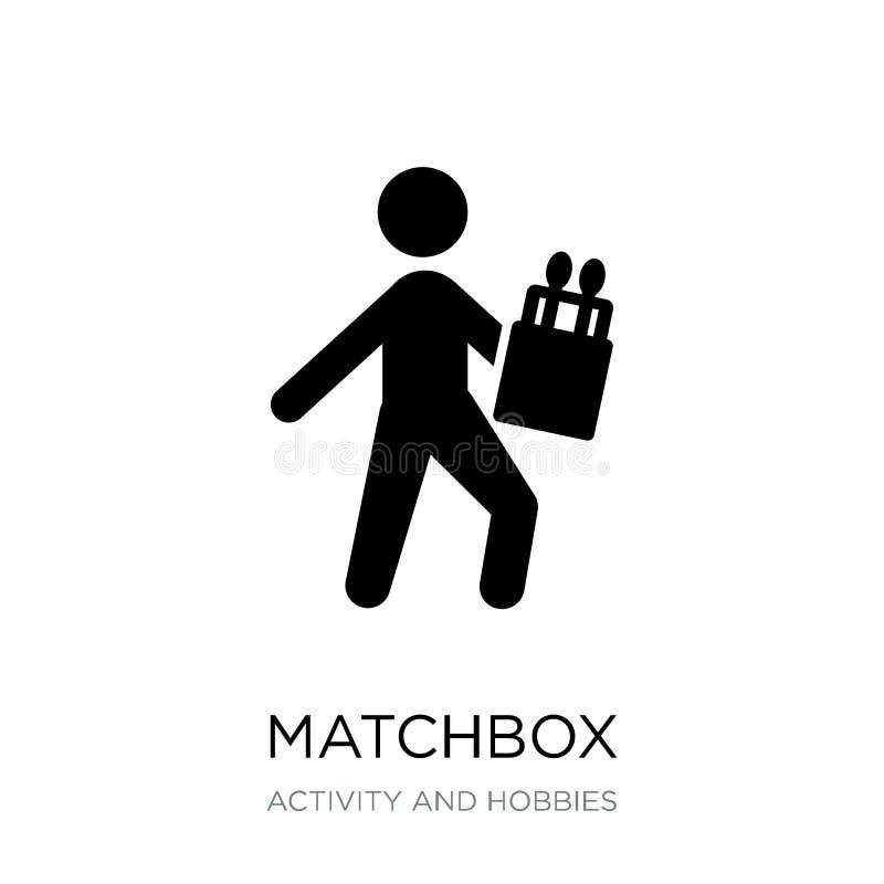 icône de boîte d'allumettes dans le style à la mode de conception icône de boîte d'allumettes d'isolement sur le fond blanc appar illustration de vecteur