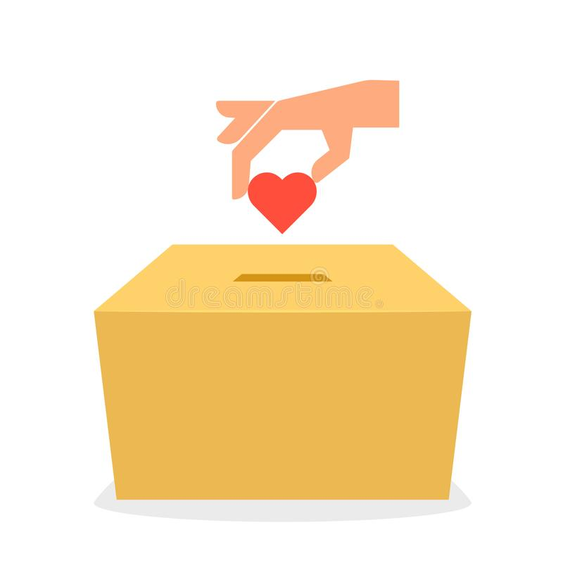 Icône de boîte de donation de carton illustration stock