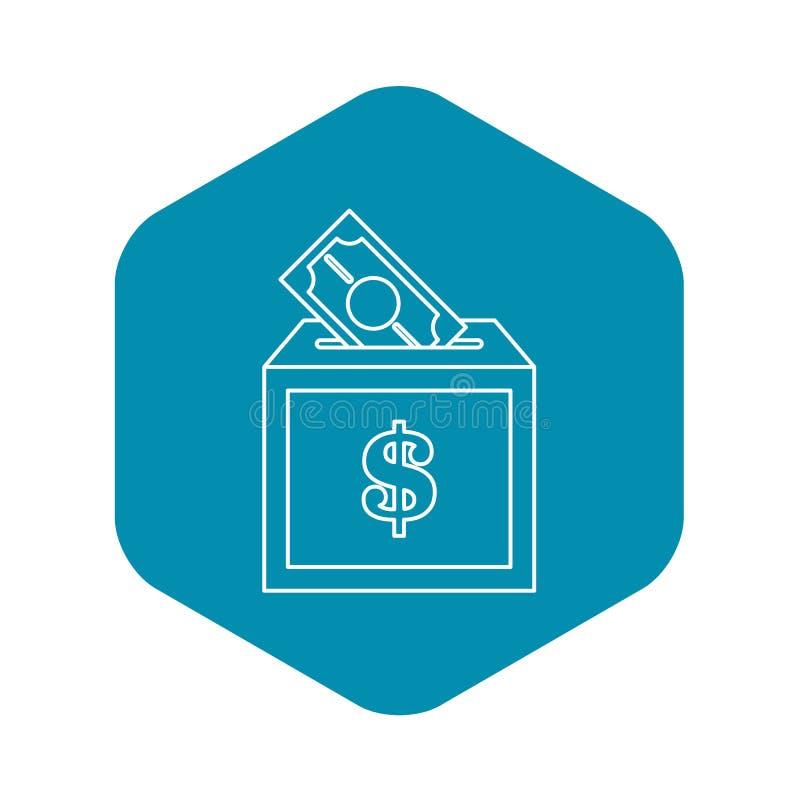 Icône de boîte de donation, style d'ensemble illustration stock