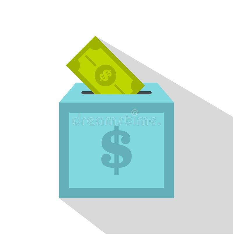 Icône de boîte de donation, style plat illustration stock