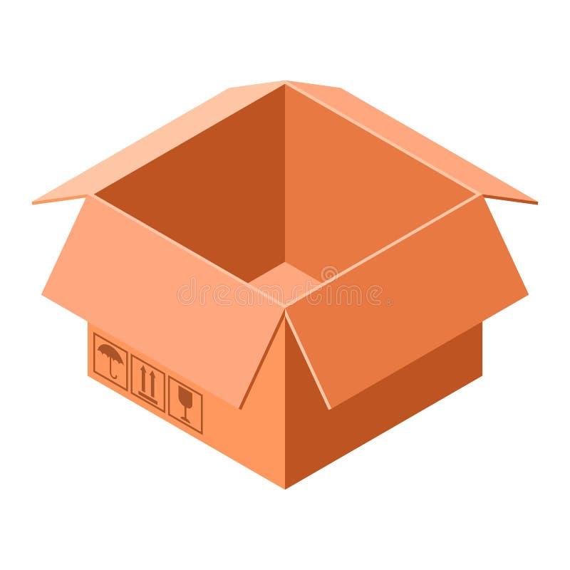 Icône de boîte en carton, style isométrique illustration stock