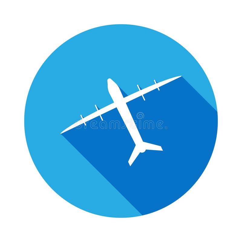icône de bombardier d'avion avec la longue ombre Éléments d'une icône commandée d'avions Signes, icône de collection de symboles  illustration libre de droits