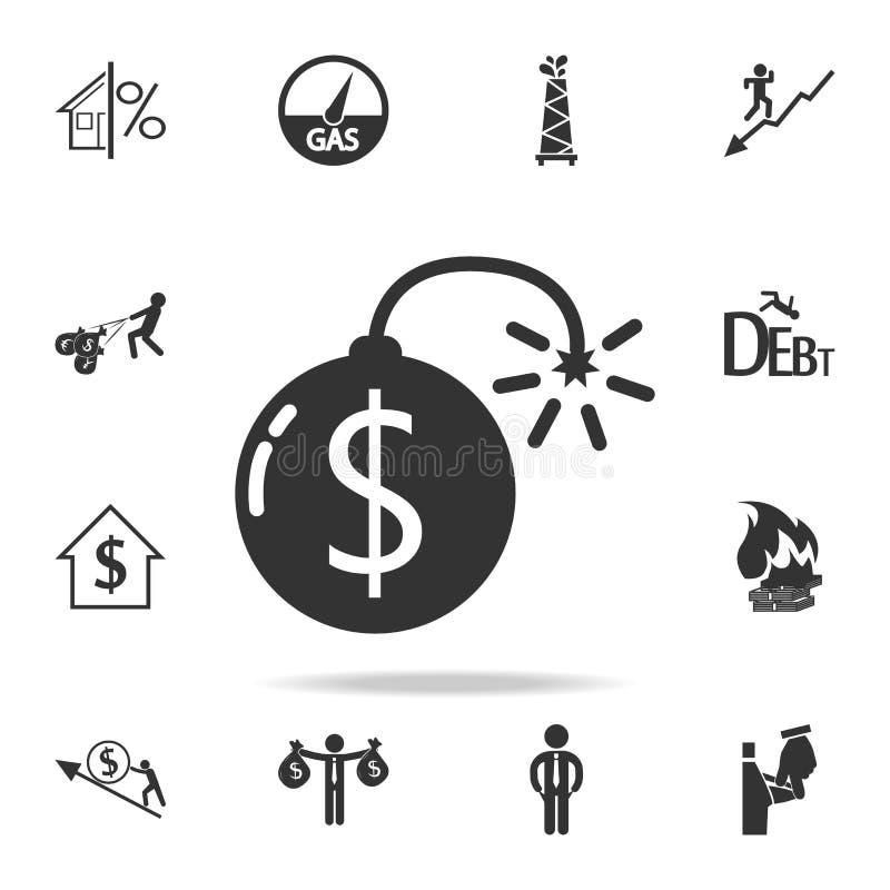 Icône de bombe du dollar Ensemble détaillé d'icônes d'élément de finances, d'opérations bancaires et de bénéfice Conception graph illustration stock