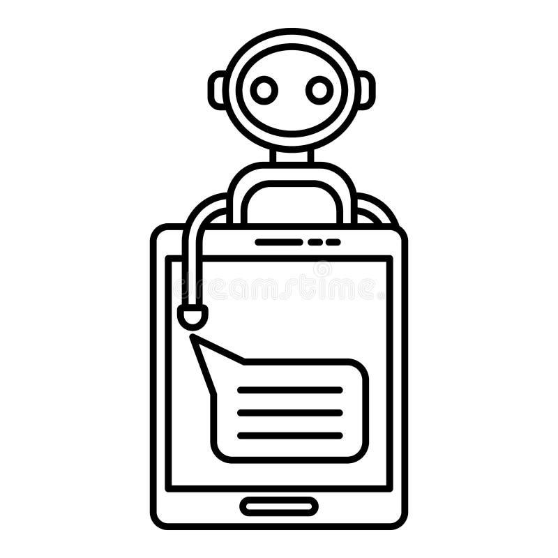 Icône de bot de causerie de Smartphone, style d'ensemble illustration de vecteur