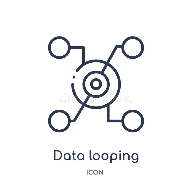 icône de bouclage d'interface de données de collection d'ensemble d'interface utilisateurs Ligne mince icône de bouclage d'interf illustration stock
