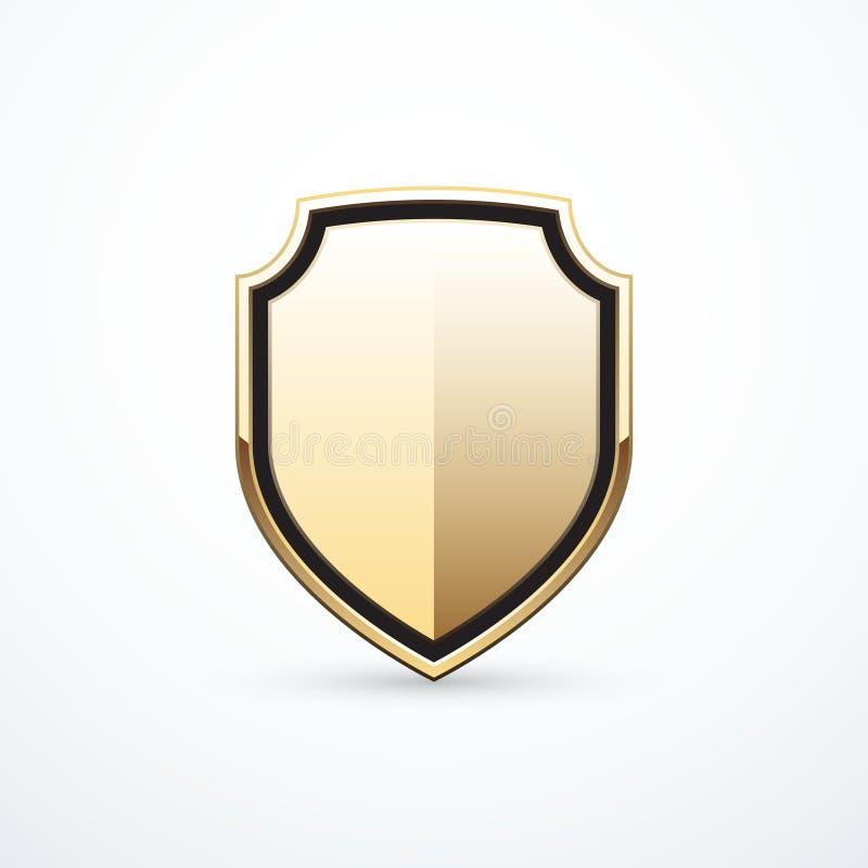 Icône de bouclier d'or de vecteur illustration stock