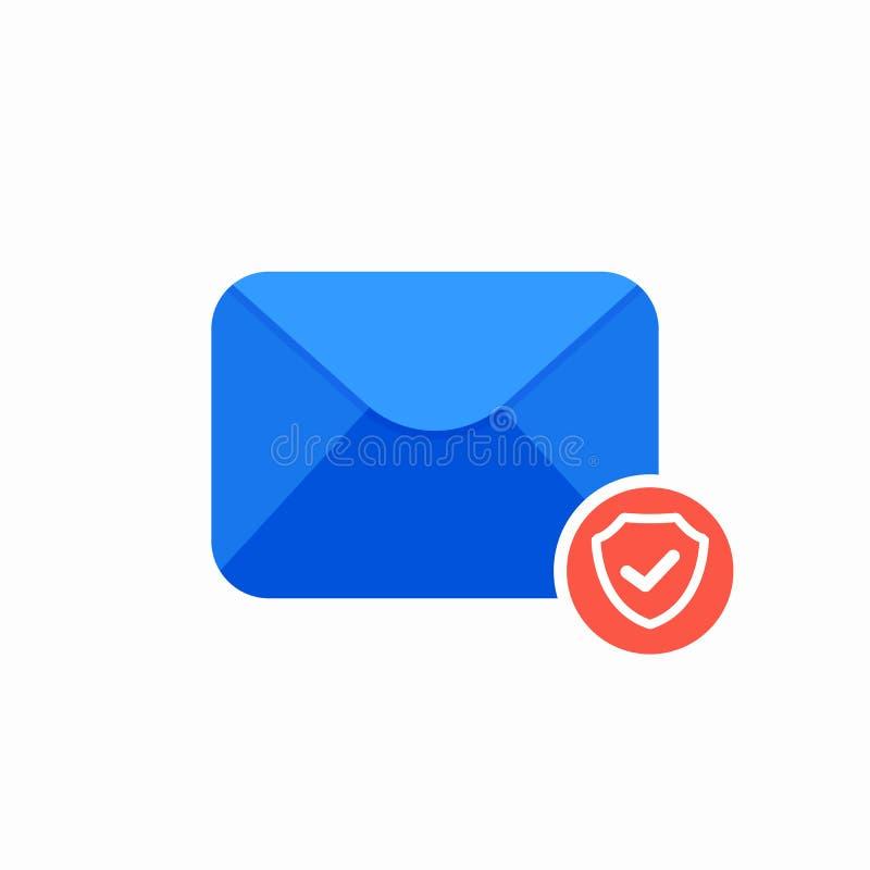 Icône de bouclier de sécurité d'ok de courrier de garde d'enveloppe d'email illustration de vecteur
