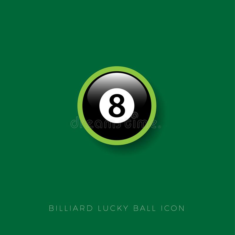 Icône de boule de billard Talisman chanceux Boule de billard Graphisme de Web illustration libre de droits