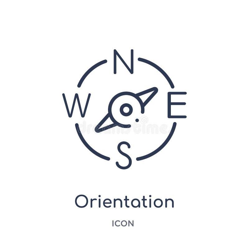 icône de boussole d'orientation de collection d'ensemble d'outils et d'ustensiles Ligne mince icône de boussole d'orientation d'i illustration libre de droits