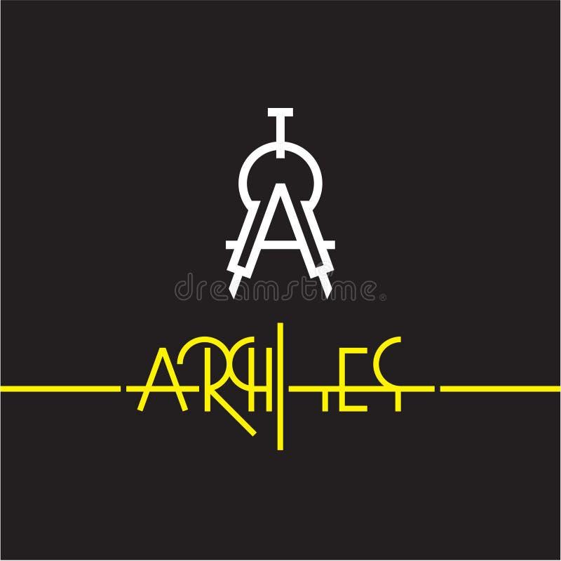 Icône de boussole, diviseur, logo d'architecte illustration libre de droits
