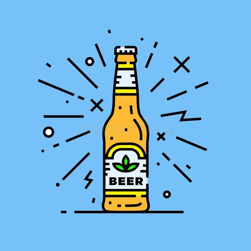 Icône de bouteille à bière de métier illustration stock