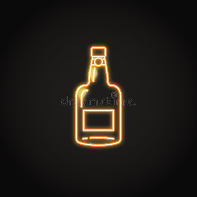 Icône de bouteille de vin gauche dans le style au néon rougeoyant illustration stock
