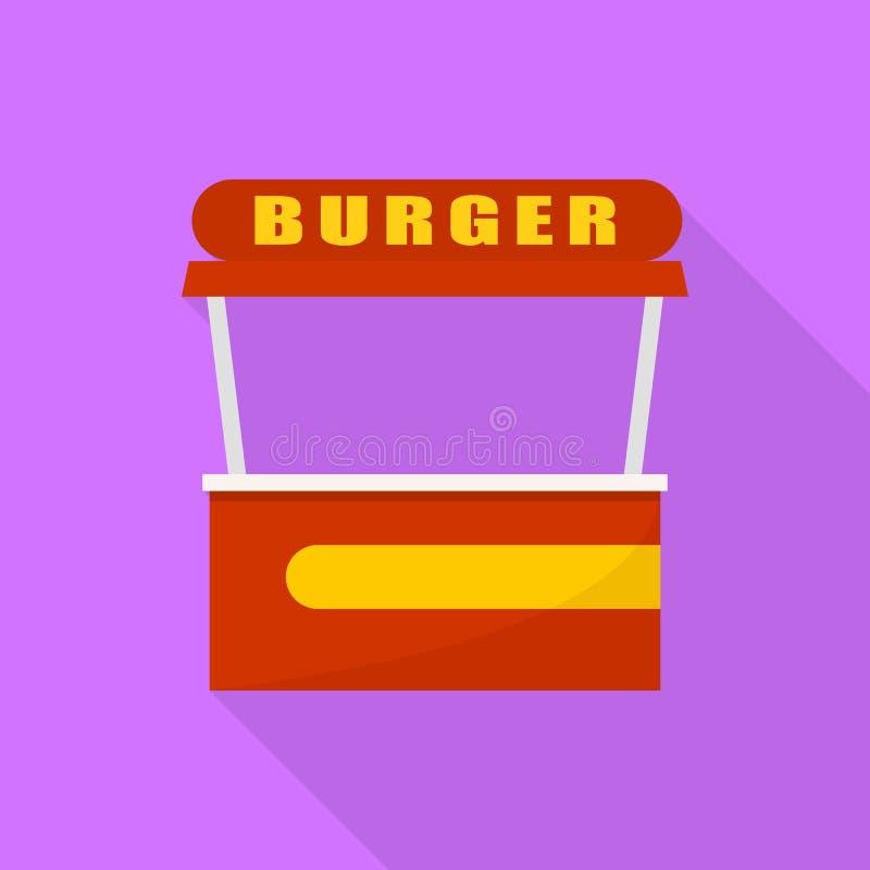 Icône de boutique de bureau de rue d'hamburger, style plat illustration stock