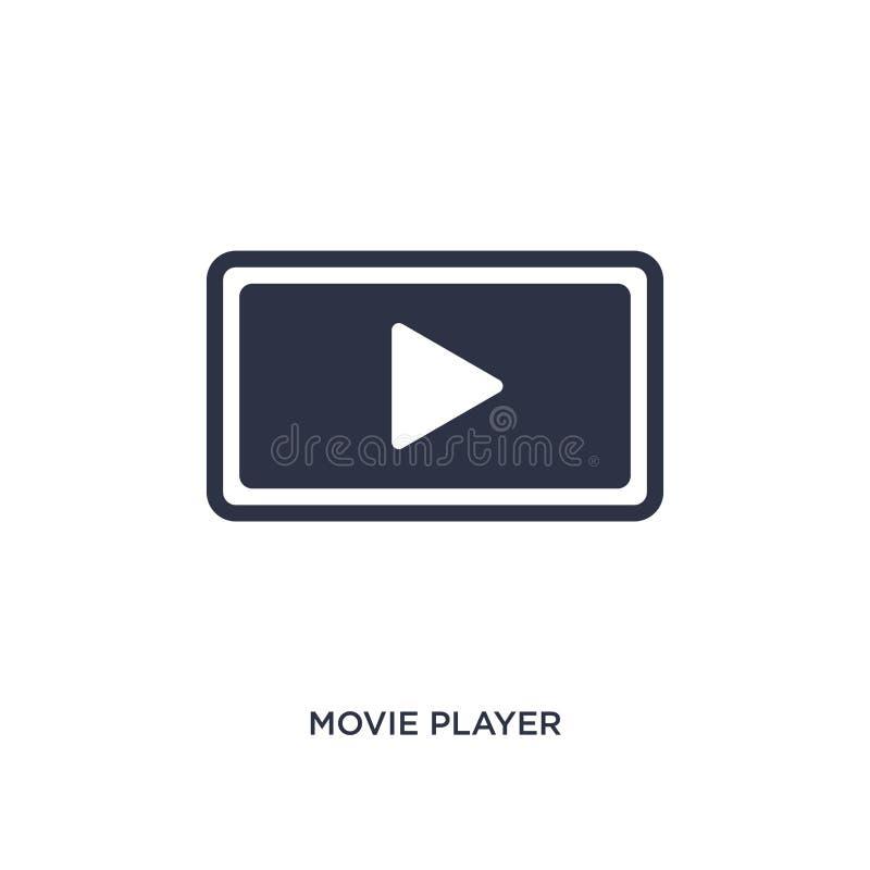 icône de bouton de jeu d'acteur de cinéma sur le fond blanc Illustration simple d'élément de la musique et du concept de médias illustration stock