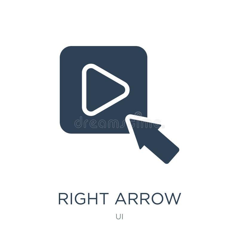icône de bouton de jeu de flèche droite dans le style à la mode de conception icône de bouton de jeu de flèche droite d'isolement illustration libre de droits