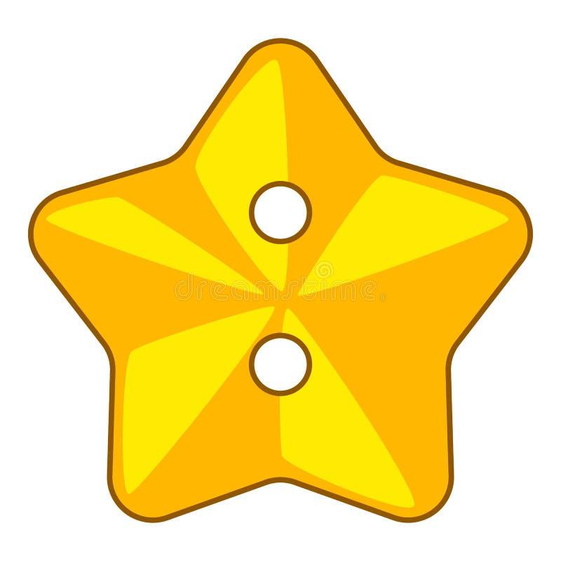 Icône de bouton de tissu d'étoile, style de bande dessinée illustration de vecteur