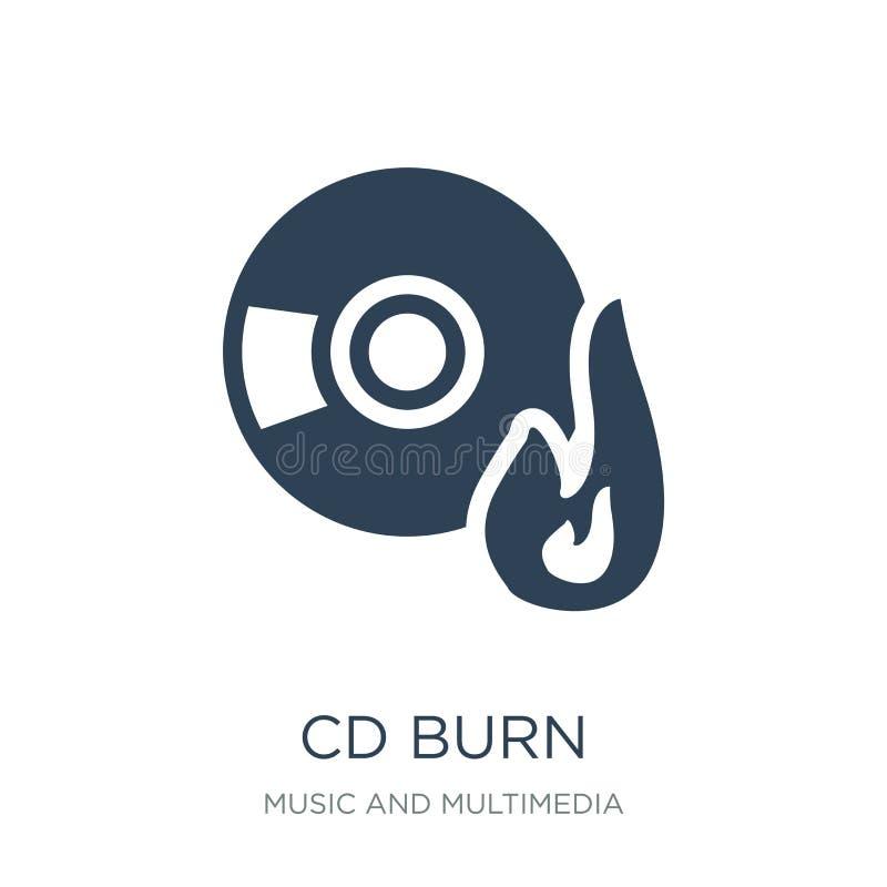 icône de brûlure de Cd dans le style à la mode de conception icône de brûlure de Cd d'isolement sur le fond blanc symbole plat si illustration libre de droits