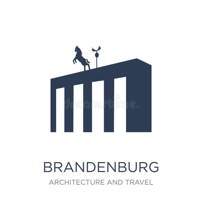 Icône de Brandebourg Icône plate à la mode de Brandebourg de vecteur sur b blanc illustration de vecteur