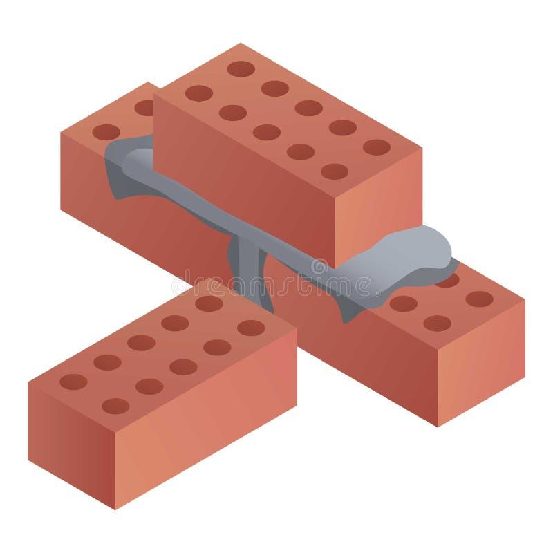 Icône de briques de construction, style isométrique illustration stock
