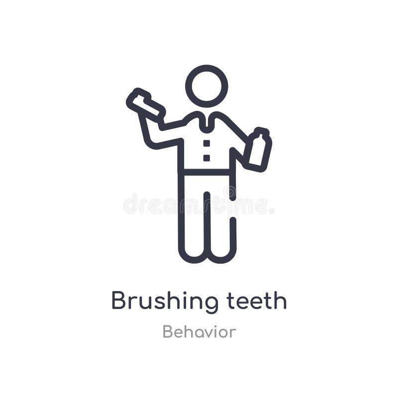icône de brossage d'ensemble de dents r icône de brossage de dents de course mince editable illustration libre de droits