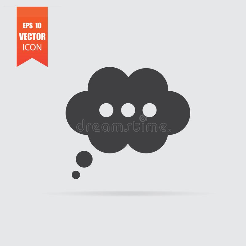 Icône de bulle de la parole dans le style plat d'isolement sur le fond gris illustration stock