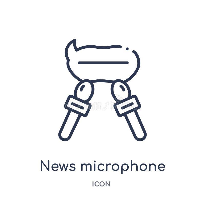 icône de bulles de microphone et de parole de nouvelles de collection d'ensemble d'outils et d'ustensiles Ligne mince bulles de m illustration stock