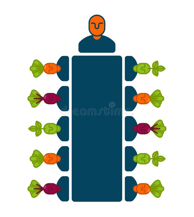 Icône de bureau de réunion Directeurs à la table Bossage et subalternes B illustration libre de droits