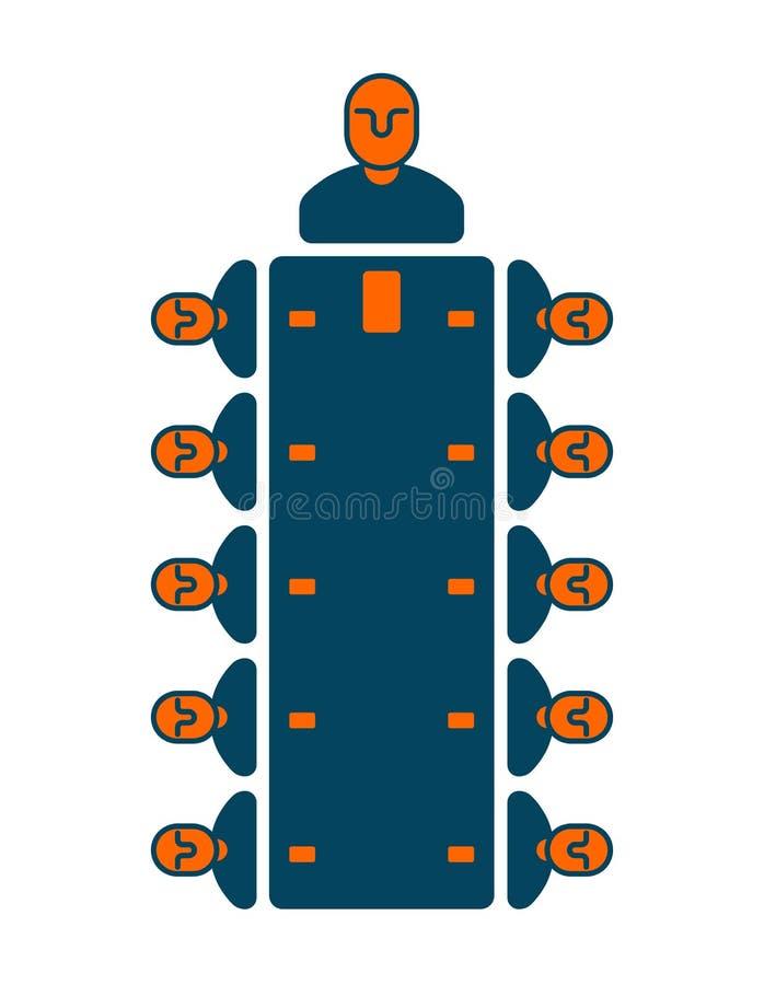 Icône de bureau de réunion Directeurs à la table Bossage et subalternes B illustration stock