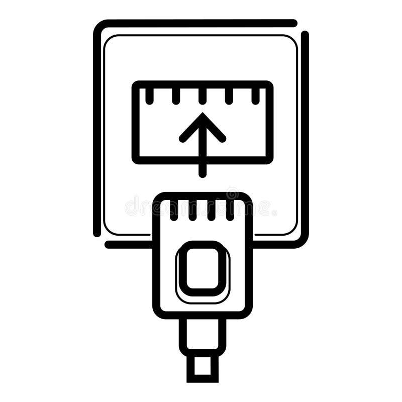 Icône de câble Ethernet et de port illustration stock