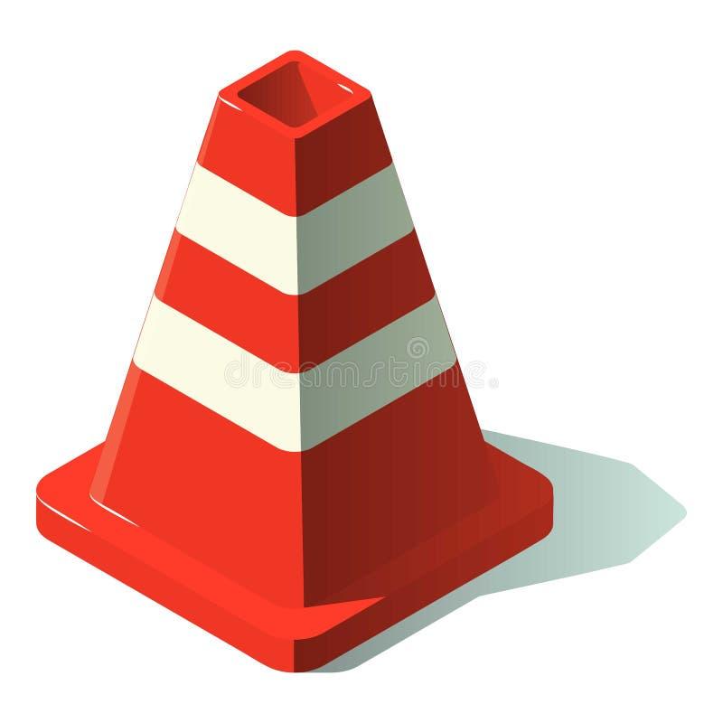 Icône de cône de construction, style isométrique illustration stock