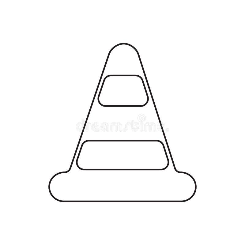 Icône de cône du trafic Élément de concept de guardfor du feu et d'icône mobiles d'applis de Web Contour, ligne mince icône pour  illustration stock