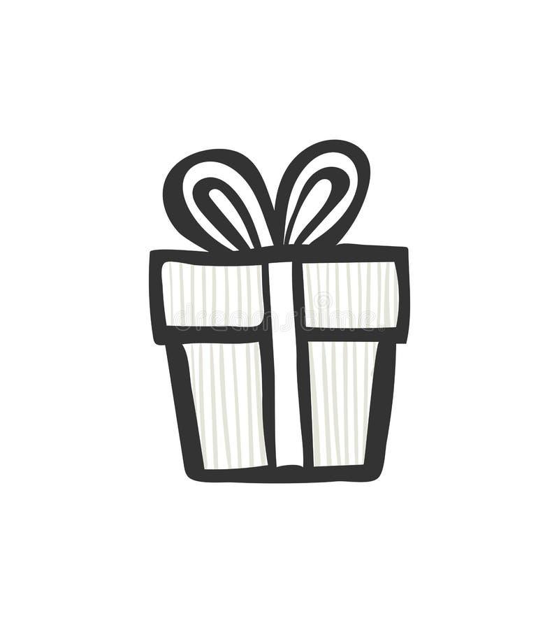 Icône de cadeau Boîte actuelle rayée simple avec le ruban et l'arc Retrait de main Style de griffonnage à l'encre noire illustration stock