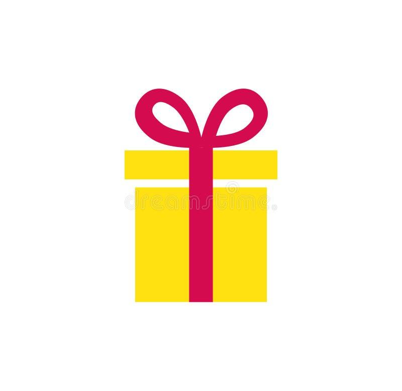 Icône de cadeau Boîte actuelle simple avec le ruban Objet d'isolement illustration stock
